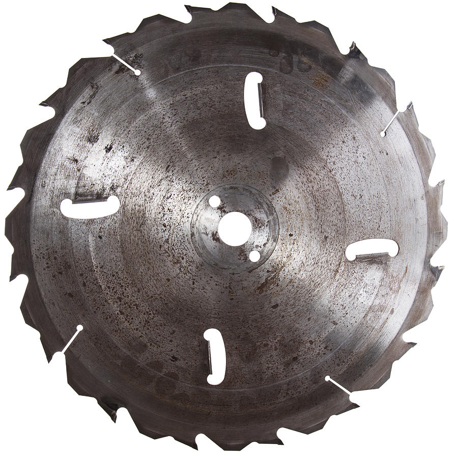 Circular Saw Photograph - Circular Saw Blade Isolated On White by Handmade Pictures