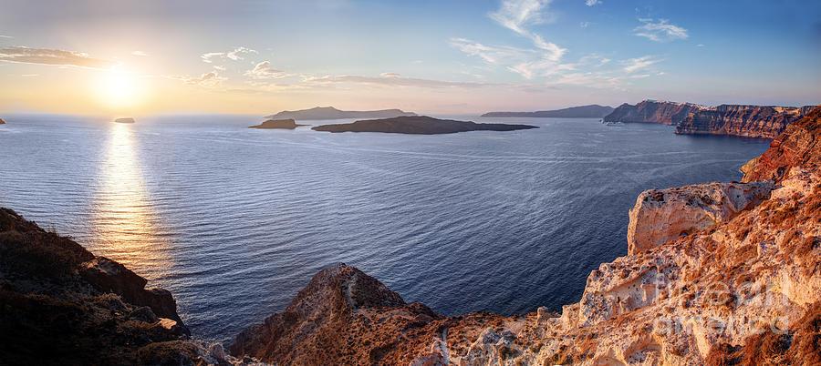 Greece Photograph - Cliff And Volcanic Rocks Of Santorini Island Greece by Michal Bednarek