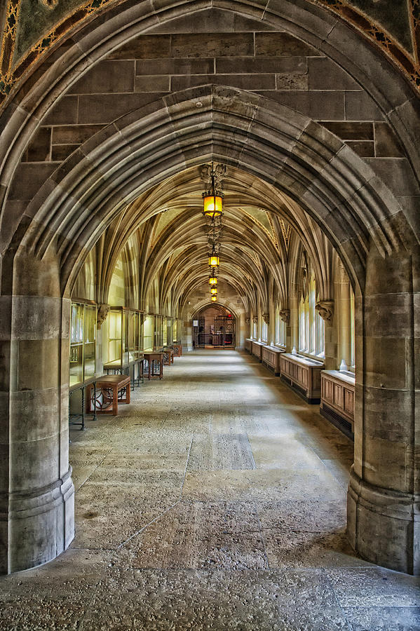 cloister hallway inside sterling memorial library yale university