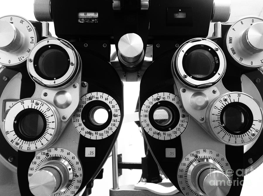 Closeup Of A Phoropter Eye Examination Equipment by Amy Cicconi