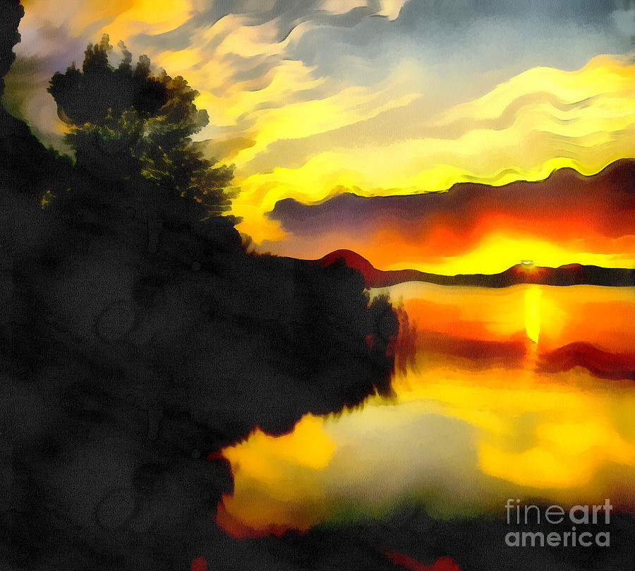 Art Painting - Colors At The Lake by Odon Czintos