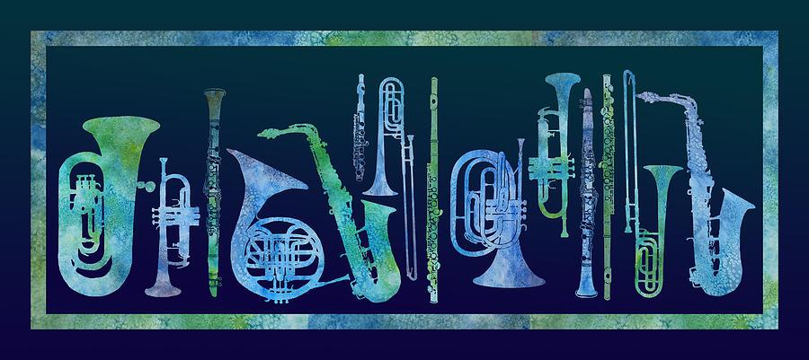 Band Digital Art - Cool Blue Band by Jenny Armitage