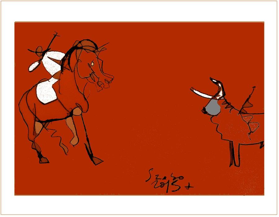 Corrida Drawing - Corrida Equestre 2013 by Peter Szabo