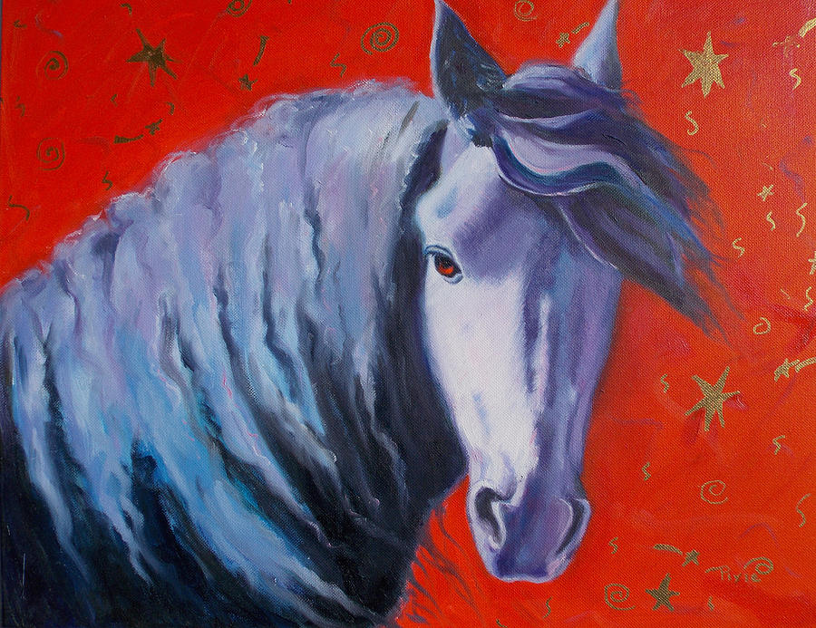 Horse Painting - Cosmic Horse by Pixie Glore