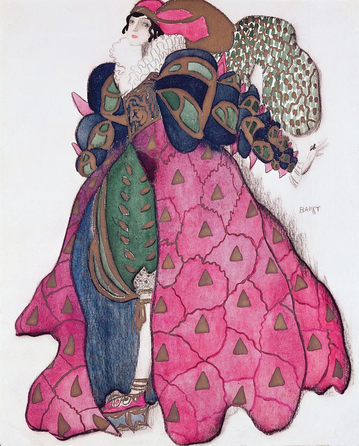Dress Drawing - Costume Design For The Ballet La by Leon Bakst