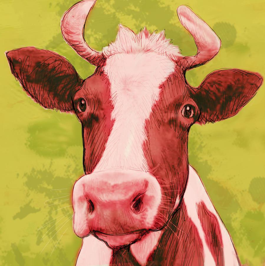 Cow Stylised Pop Modern Art Drawing Sketch Portrait by Kim Wang
