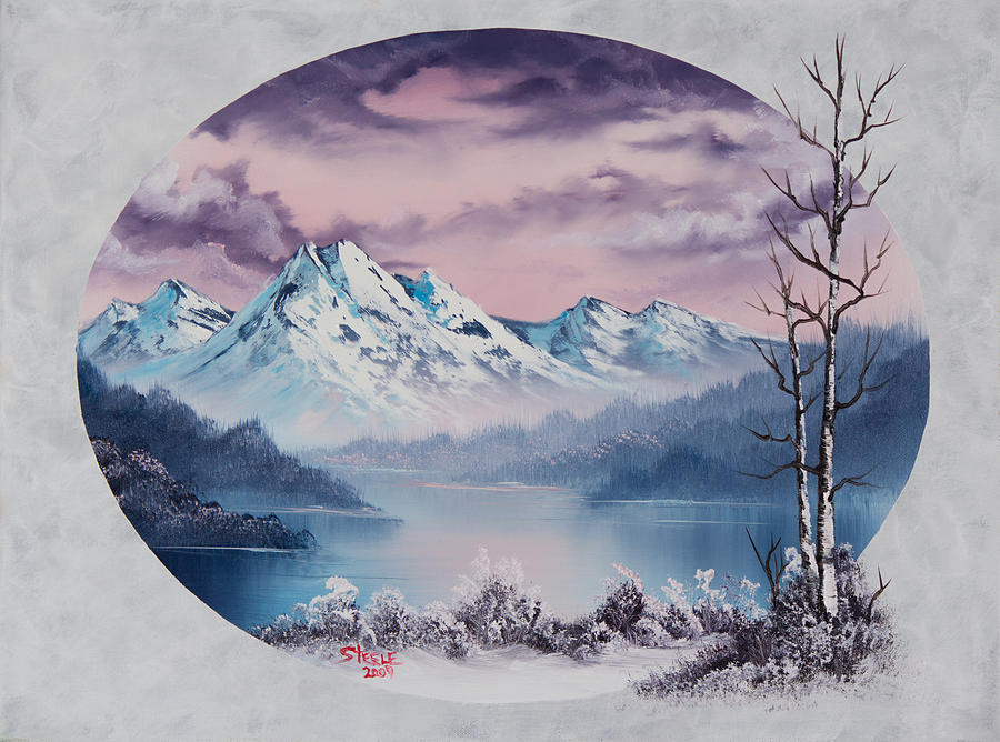 Landscape Painting - Crimson Frost Oval by Chris Steele