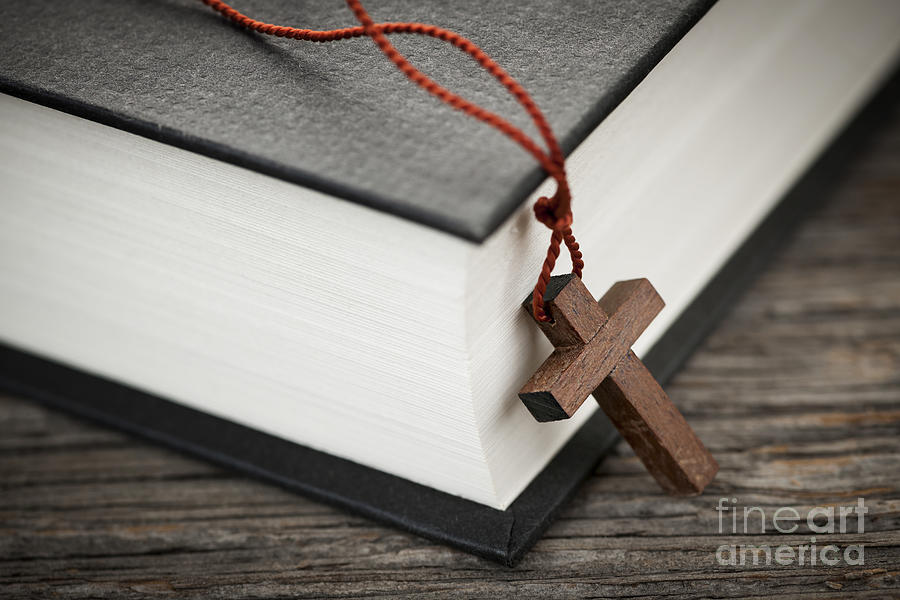 Cross Photograph - Cross And Bible by Elena Elisseeva