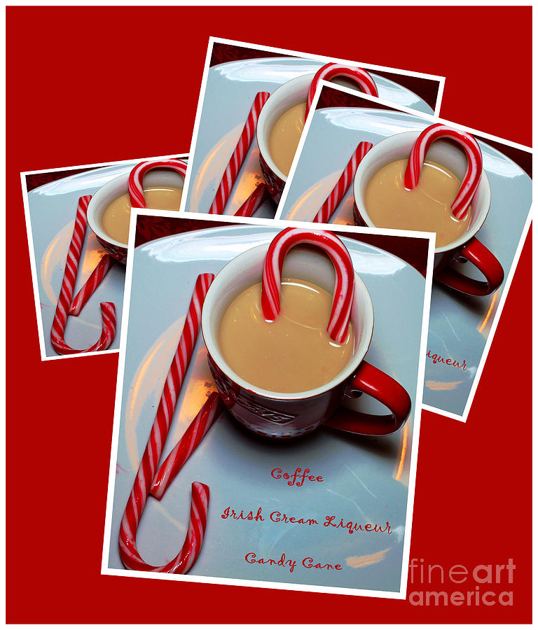 Candy Cane Photograph - Cup Of Christmas Cheer - Candy Cane - Candy - Irish Cream Liquor by Barbara Griffin