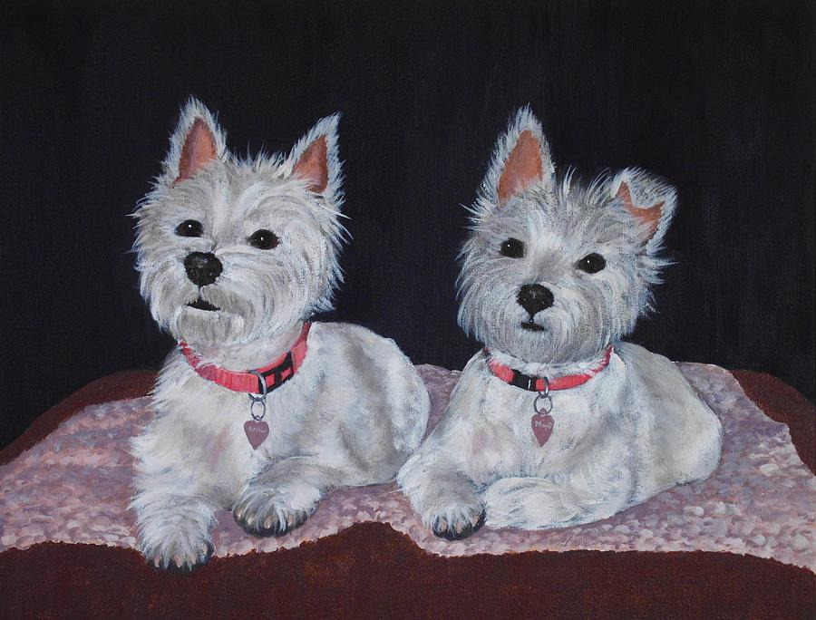 Pet Portrait Painting - 2 Cute by Anastasiya Malakhova