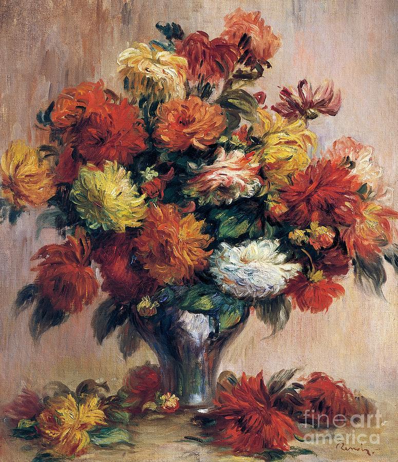 Dahlia Painting - Dahlias by Pierre-Auguste Renoir