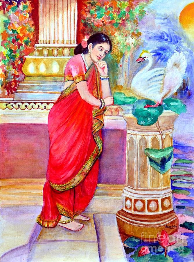 Damayanthi Painting - Damayanthi And The Swan by Banus Art work