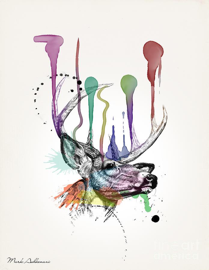 Deer Painting - Deer by Mark Ashkenazi