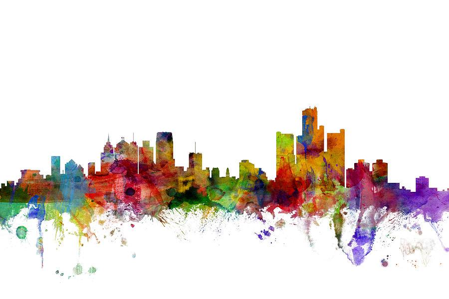 United States Digital Art - Detroit Michigan Skyline by Michael Tompsett