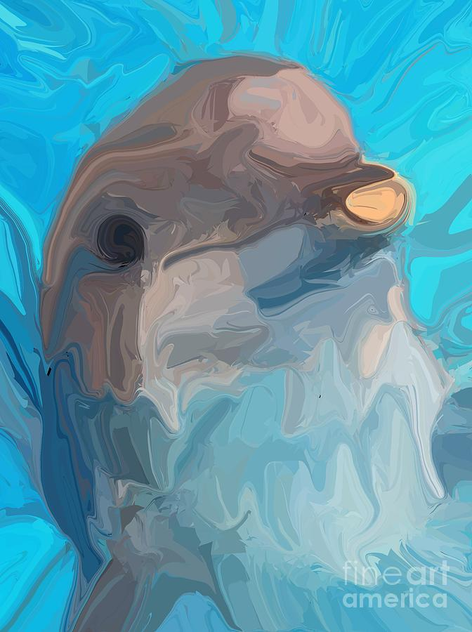 Dolphin Digital Art - Dolphin by Chris Butler