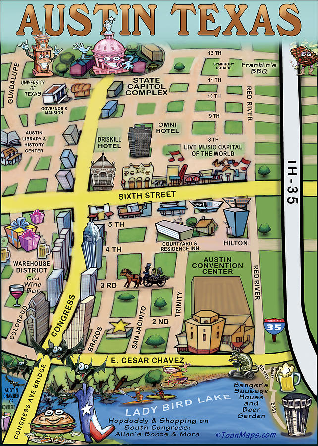 Downtown Austin Texas Digital Art By Kevin Middleton