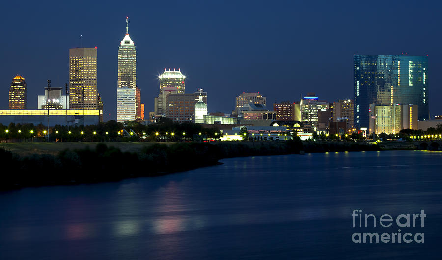 Downtown Photograph - Downtown Indianapolis Indiana by Anthony Totah