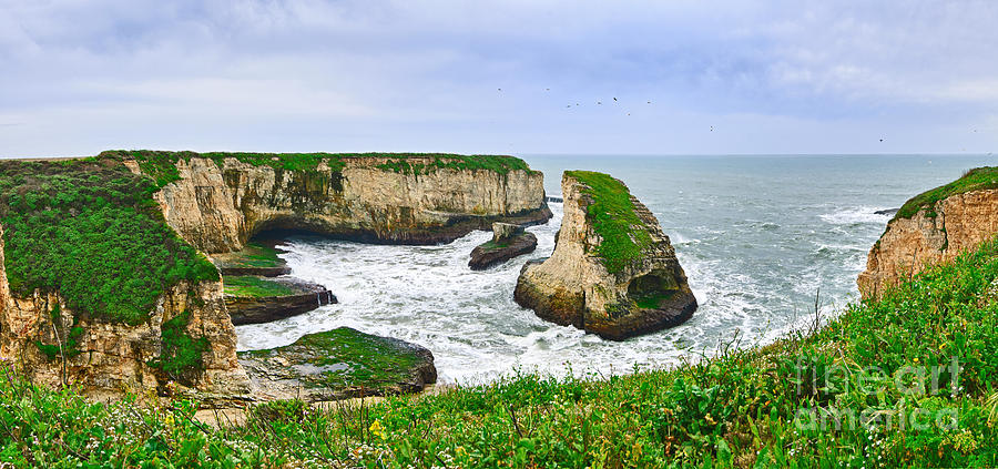 Shark Fin Cove Photograph - Dramatic Panoramic View Of Shark Fin Cove by Jamie Pham