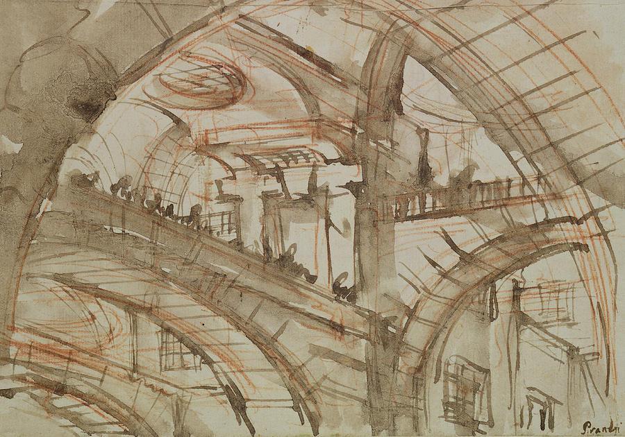 Brush Drawing - Drawing Of An Imaginary Prison by Giovanni Battista Piranesi