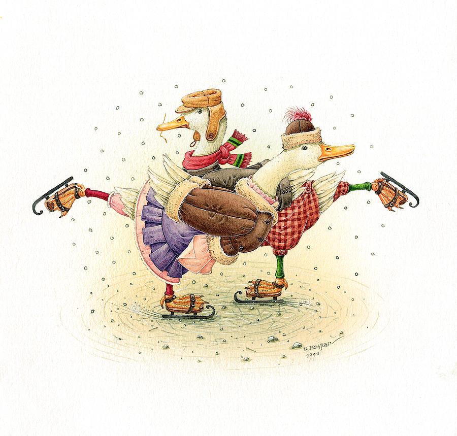 Ducks Christmas Painting by Kestutis Kasparavicius