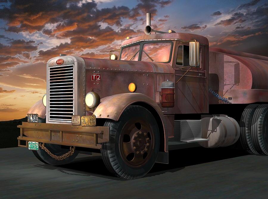 Peterbilt Digital Art - Duel Truck by Stuart Swartz