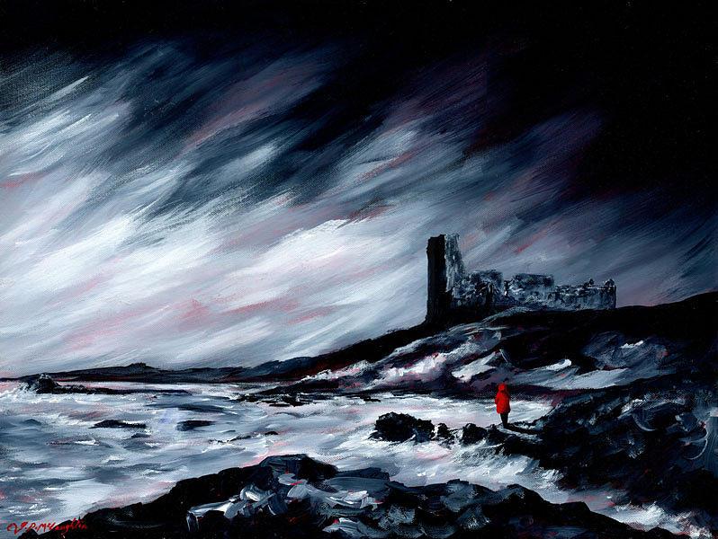 J P Mclaughlin Painting - Dunure Red Coat by J P McLaughlin