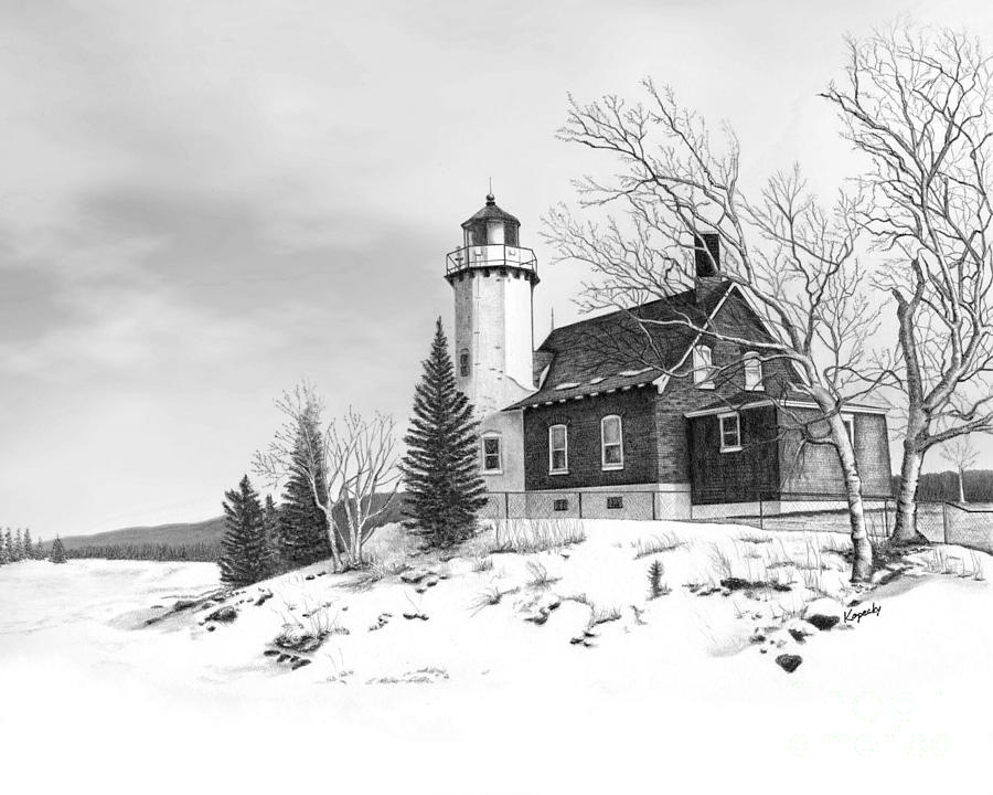 Lighthouse Drawing - Eagle Harbor Lighthouse by Darren Kopecky