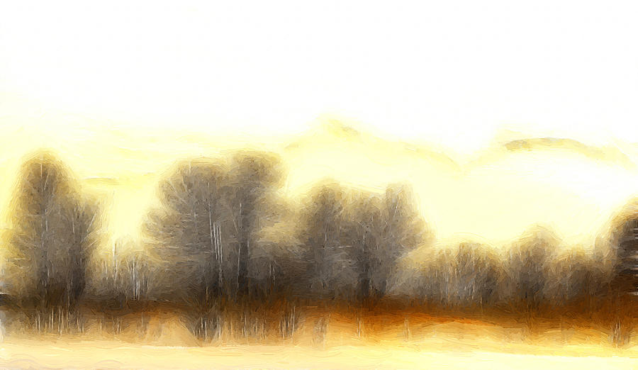 Morning Fog Mist Misty Tree Trees Mountain Nature Abstract Expressionism Landscape Painting Painting - Early In The Morning by Steve K