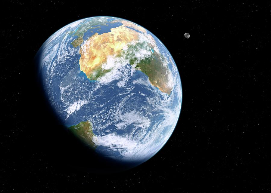 Astronomical Photograph - Earth And Moon From Space by Detlev Van Ravenswaay