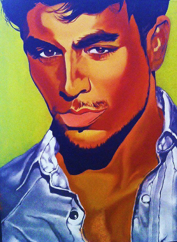 Paintings Of Celebrities Mixed Media - Enrique Iglesias by Carl Baker