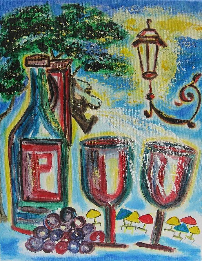 Wine Bottle Painting - European Wine by Diane Pape