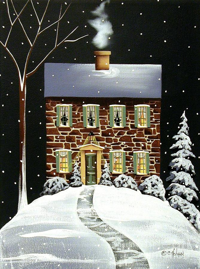 Print Painting - Evergreen Cottage by Catherine Holman