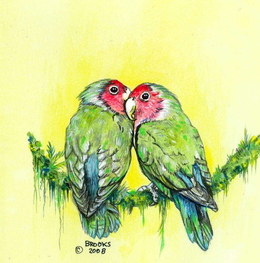 Lovebird Painting - Everything is Just Peachy by Richard Brooks