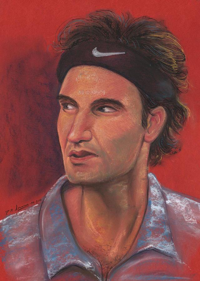 Portrait Pastel - Federer by Prakash Leuva