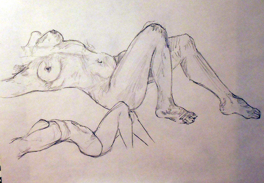 Female Figure Sketch Drawing By Alejandro Sanchez