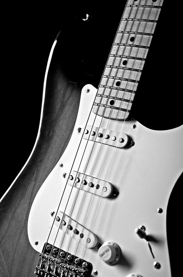 fender stratocaster electric guitar black and white photograph by jani bryson. Black Bedroom Furniture Sets. Home Design Ideas