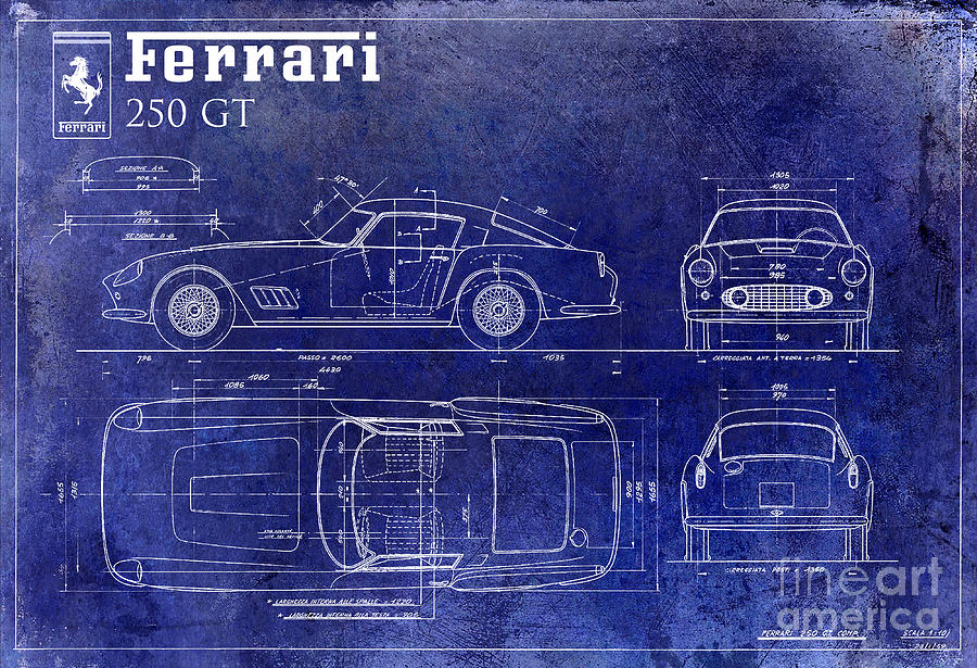 Ferrari 250 gt blueprint drawing by jon neidert ferrari 250 gt drawing ferrari 250 gt blueprint by jon neidert malvernweather