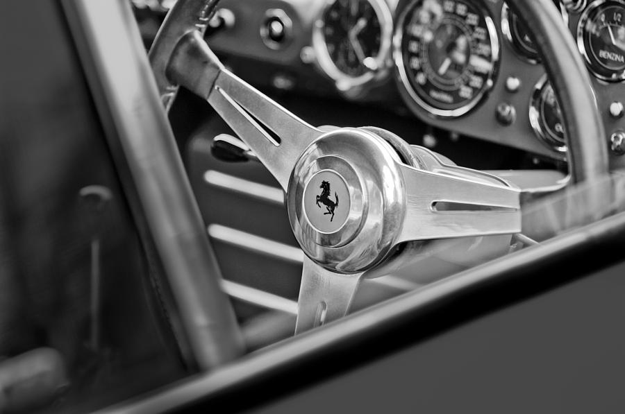 Black And White Photograph - Ferrari Steering Wheel 2 by Jill Reger