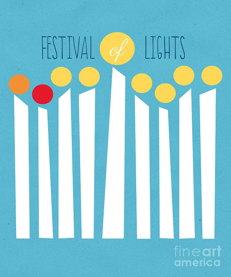 Menorah Mixed Media - Festival Of Lights by Linda Woods