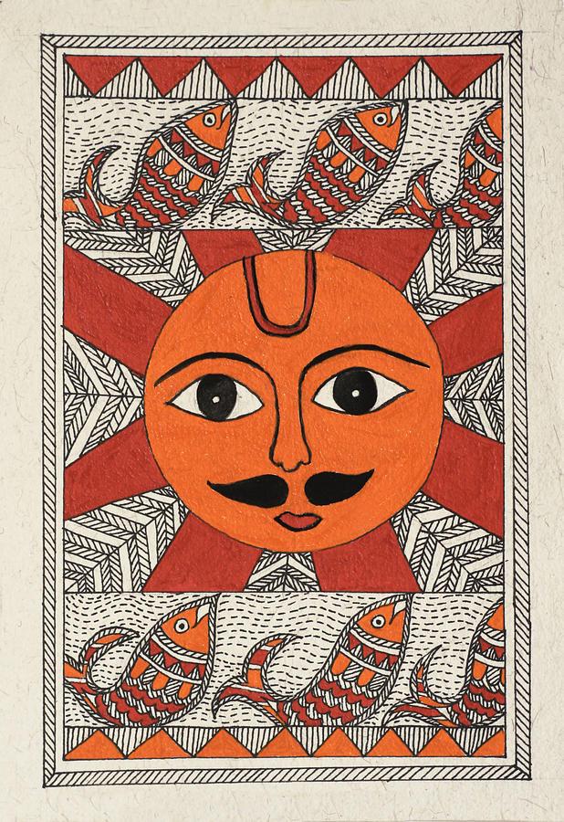 Sun Drawing - Festive Sun by Neha Dasgupta