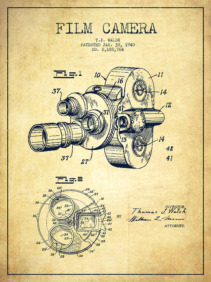 Film camera patent drawing from 1938 digital art by aged pixel camera digital art film camera patent drawing from 1938 by aged pixel malvernweather Images
