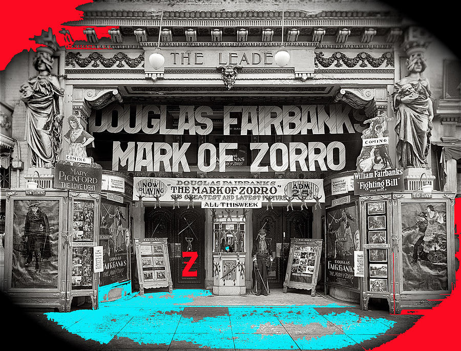 Film Homage Douglas Fairbanks The Mark Of Zorro 1920 The Leader Theater Washington D.c. 1920-2010 Photograph by David Lee Guss