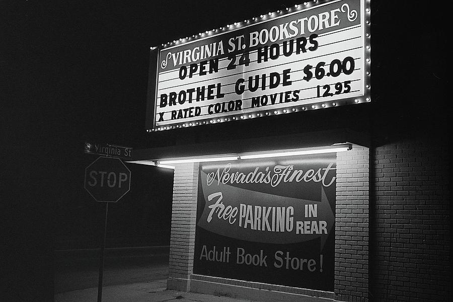 Film Noir Farewell My Lovely 1975 Brothel Guide Virginia St. Bookstore Reno Nevada 1979-2008 Photograph by David Lee Guss