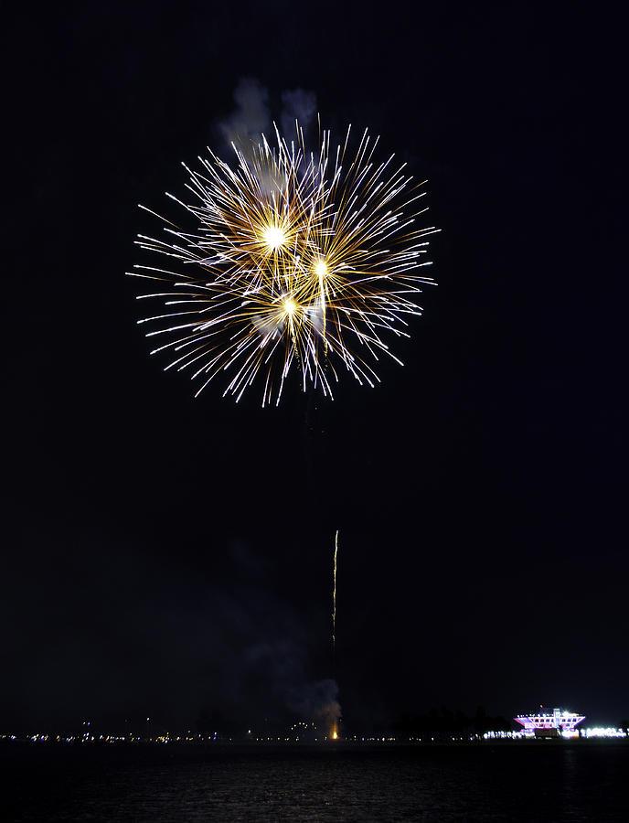 Firework Photograph - Fireworks Shell Burst Over The St Petersburg Pier by Jay Droggitis
