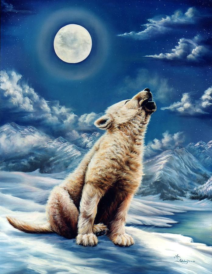 Wolf Pup Painting - First Solo by Lori Salisbury