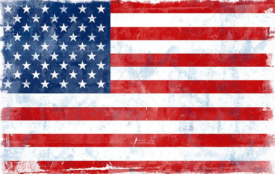 Abstract Digital Art - Flag Of Usa by Modern Art Prints