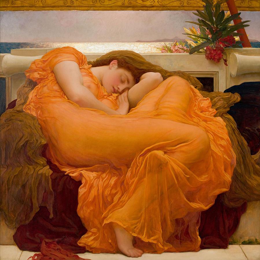 Frederick Leighton Painting - Flaming June by Frederick Leighton