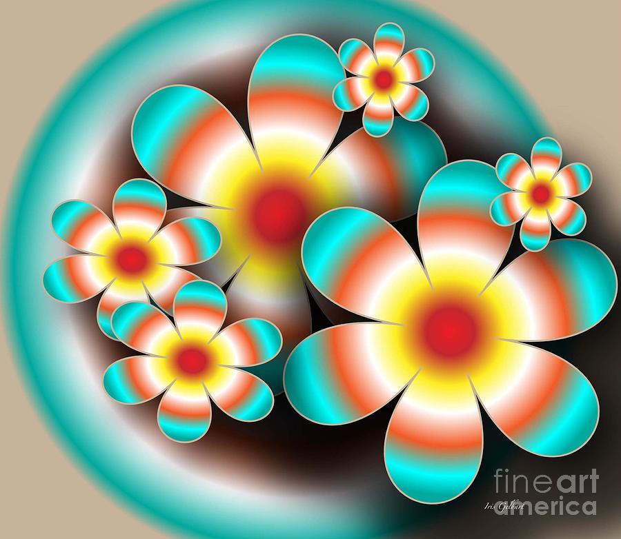 Digital Digital Art - Floral Target by Iris Gelbart