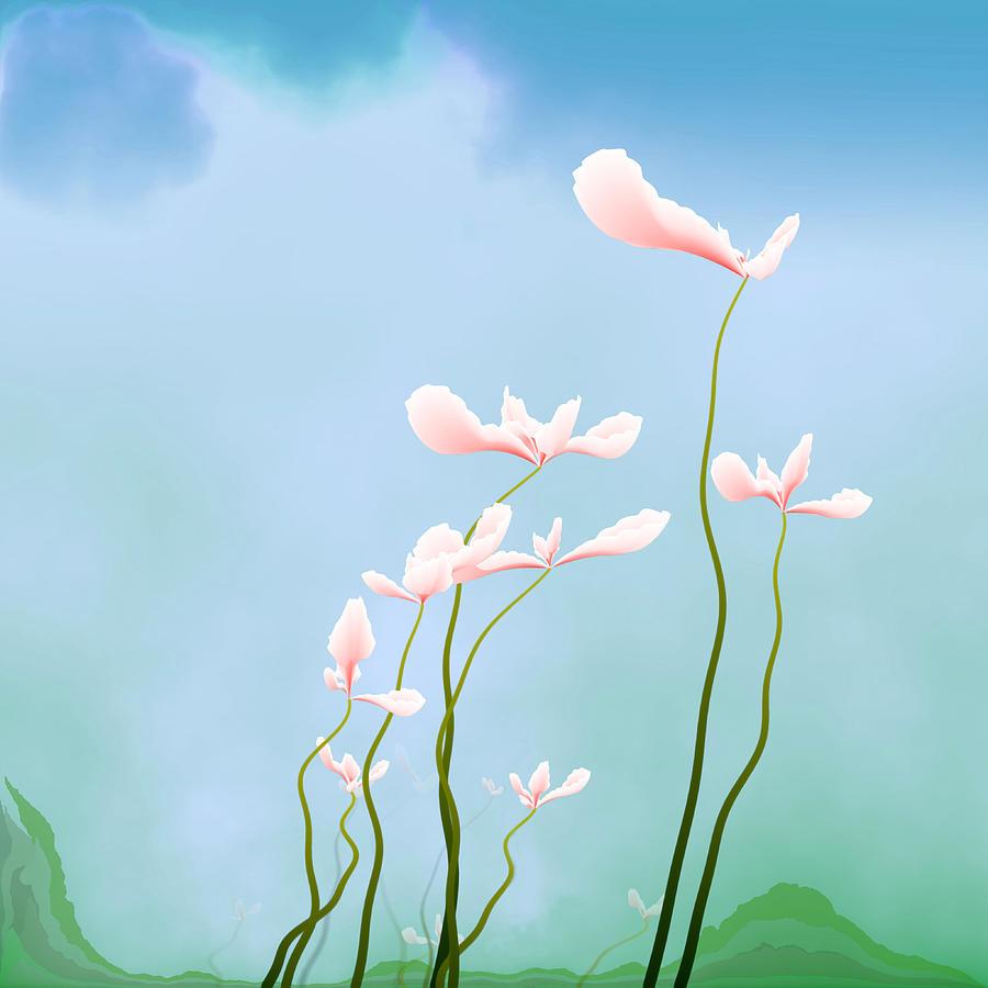 Pink Flowers Digital Art - Flowers Of Peace by GuoJun Pan