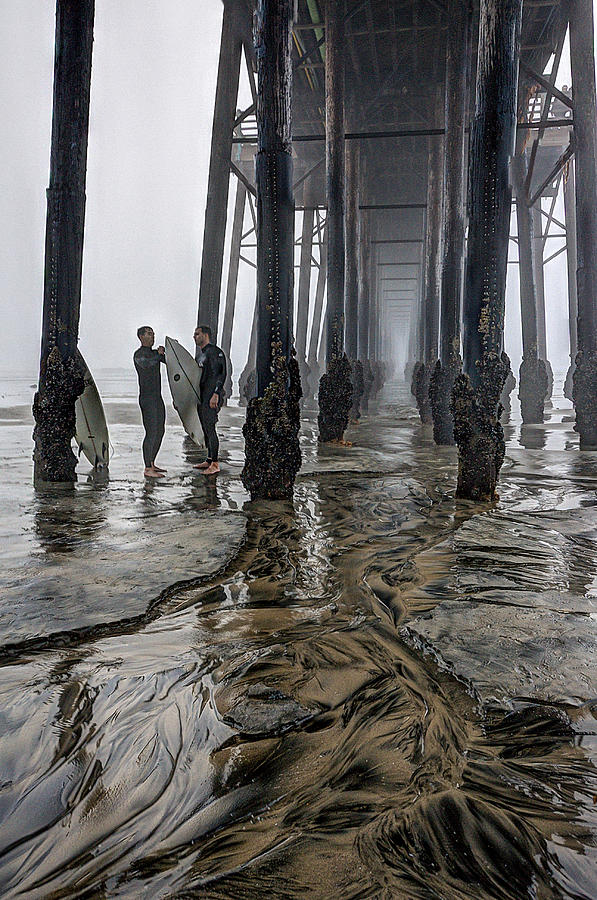 Oceanside Photograph - Fog at The Pier by Ann Patterson